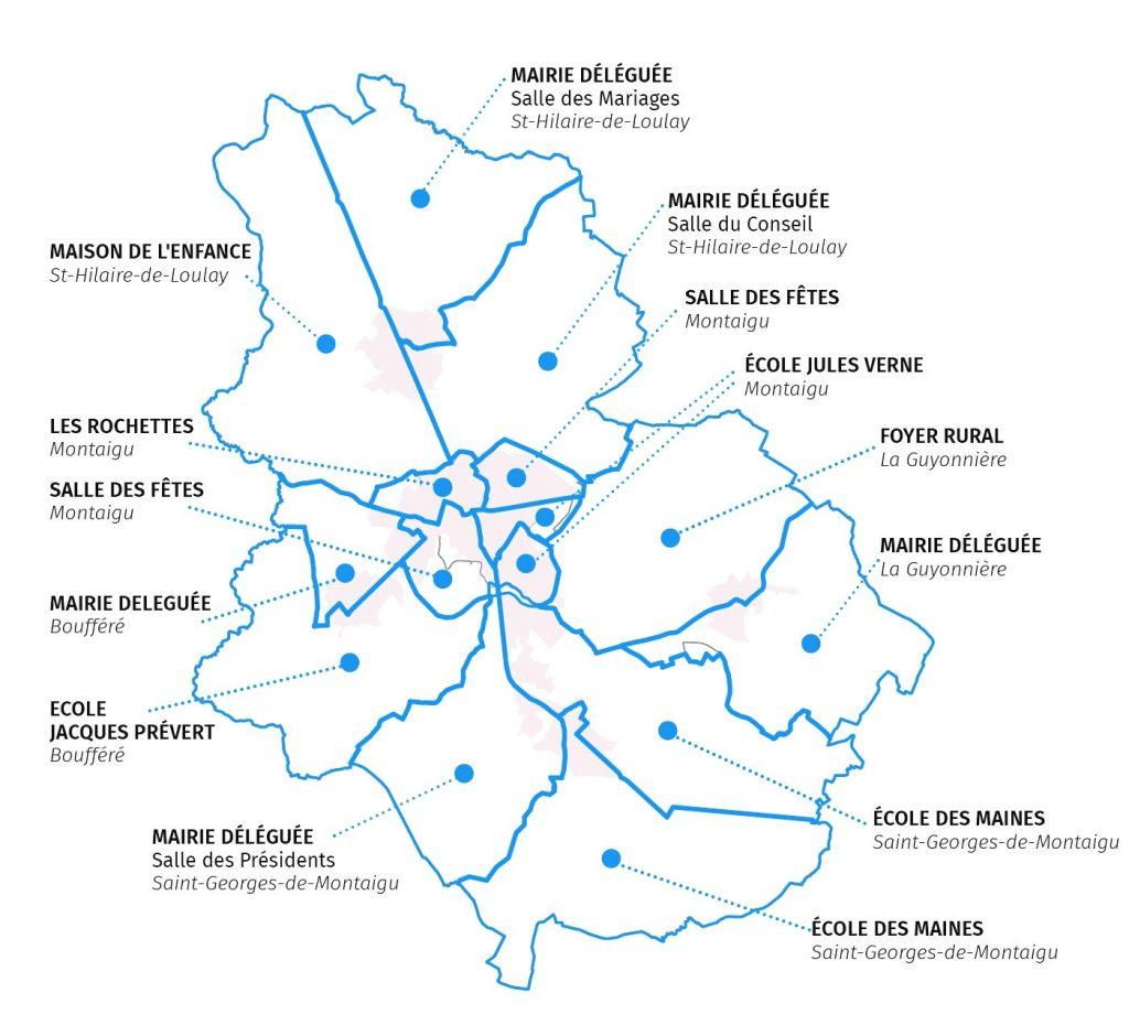 Carte des bureaux de vote Montaigu-Vendée