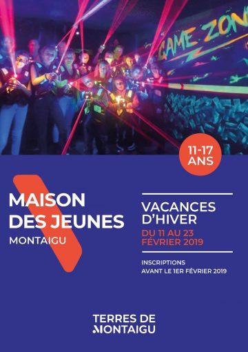 Visuel : couverture programme vacances hiver 2019 - Maison des Jeunes - Terres de Montaigu