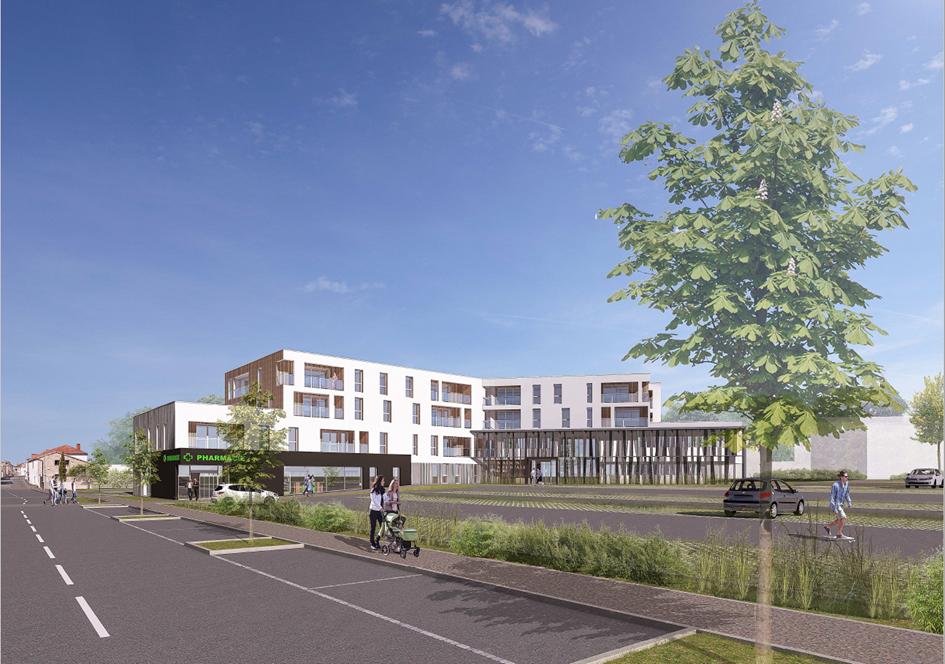 Perspective du bâtiment accueillant le pôle médical, la pharmacie et les 22 logements - Essentiel Architectes / Archi Urba Déco