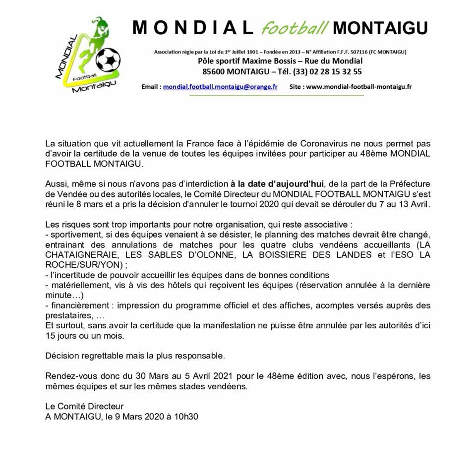 Communiqué du Mondial de football de Montaigu