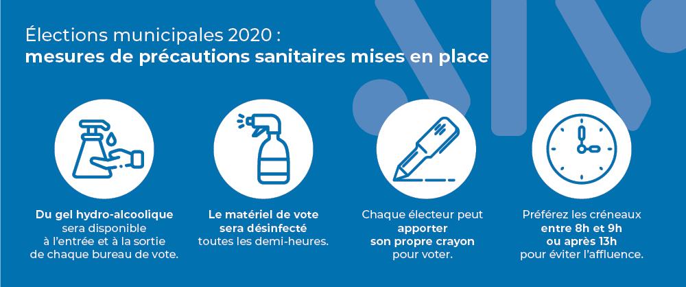 Infographie : mesures de précautions sanitaires mises en place pour les élections municipales - Montaigu-Vendée