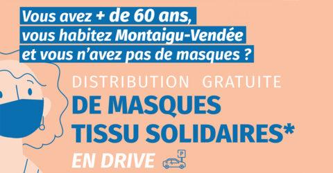 Illustration : distribution de masques aux habitants de Montaigu-Vendée de plus de 60 ans