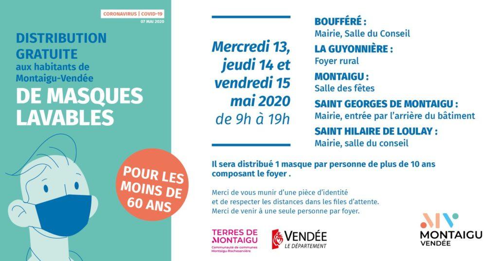 Infographie : modalités de distribution des masques aux habitants de Montaigu-Vendée