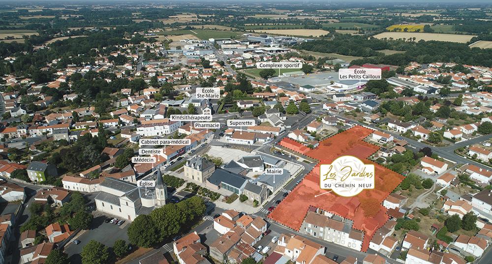 Plan : emplacement du futur programme immobilier Les Jardins du Chemin neuf - Saint-Hilaire-de-Loulay - Montaigu-Vendée