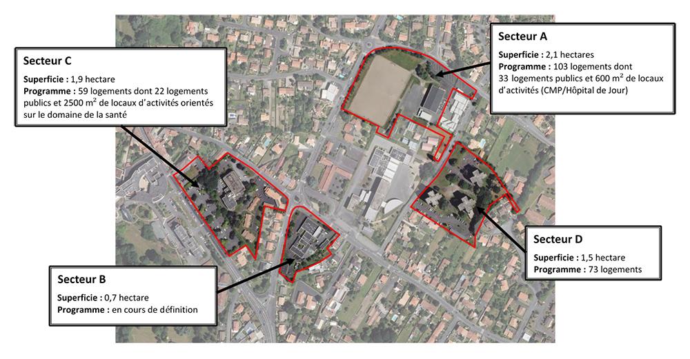 Vue aérienne des 4 secteurs composant les Hauts de Montaigu - 2017