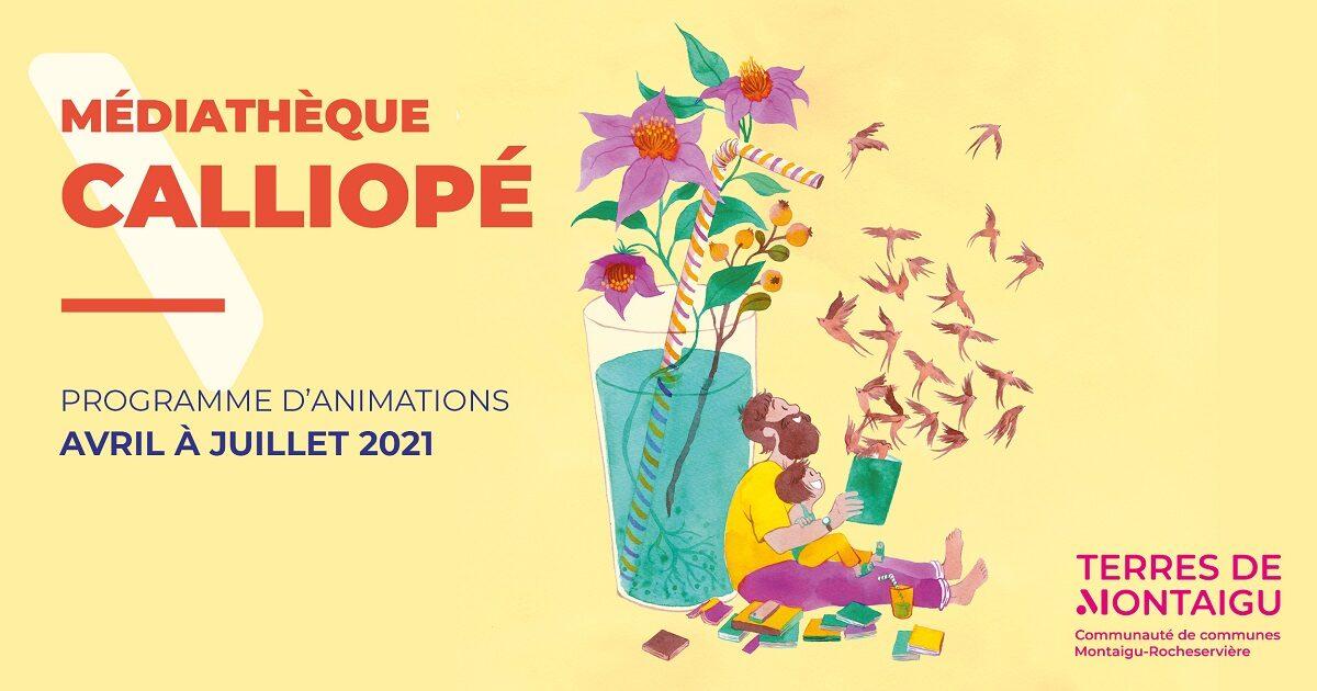 Visuel du programme d'animations de la médiathèque Calliopé