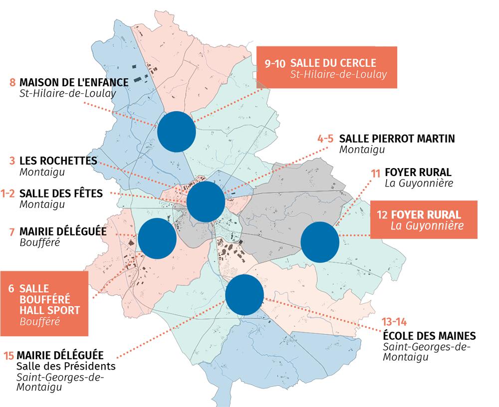 Carte des bureaux de vote de Montaigu-Vendée, élections départementales et régionales juin 2021