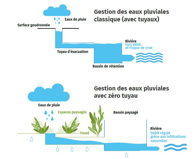 Schéma : gestion des eaux pluviales sans tuyau